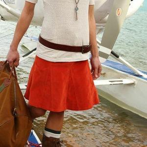 Athleta S 4 Slate Rust Orange Corduroy Skirt